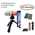 De gama alta 3in1 20x zoom óptico teleobjetivo telescopio de la lente lentes de cámara kit + trípode del teléfono cajas del teléfono móvil para samsung iphone