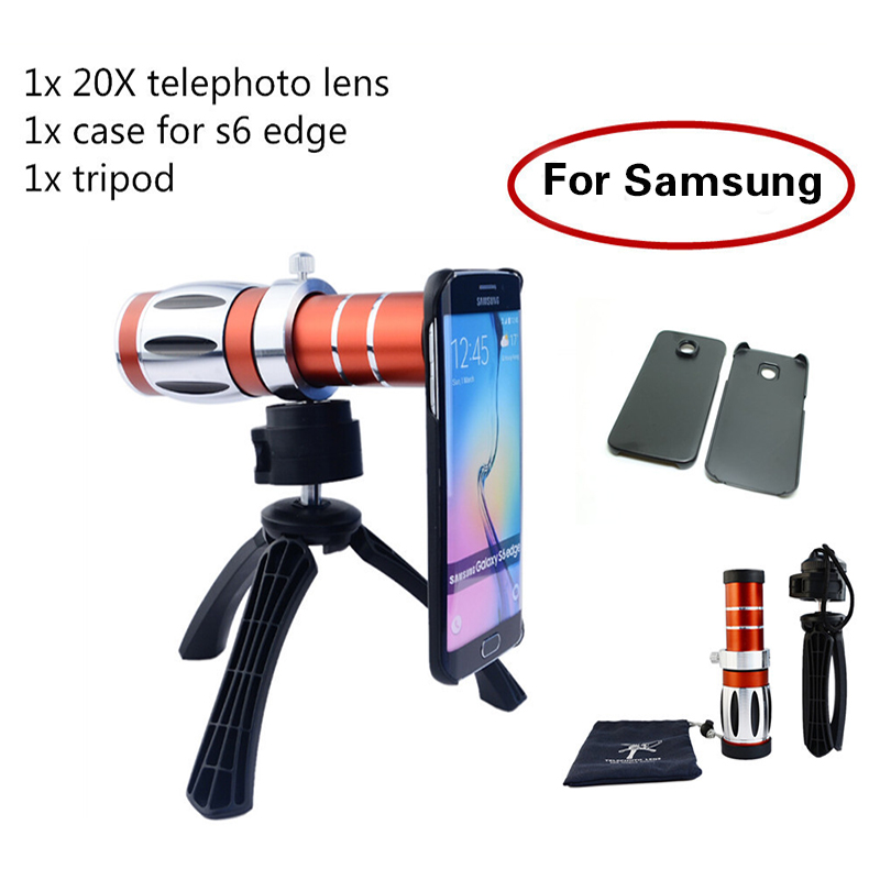 High end 3in1 20x Optical Zoom Telephoto Telescope Lens Kit+Tripod Phone Cases Mobile Phone Camera Lenses For Samsung iPhone