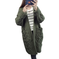 Women Girls Long Female Autumn Winter Long Sleeve Solid Color Sweater Pockets Knitted Cardigan Coat