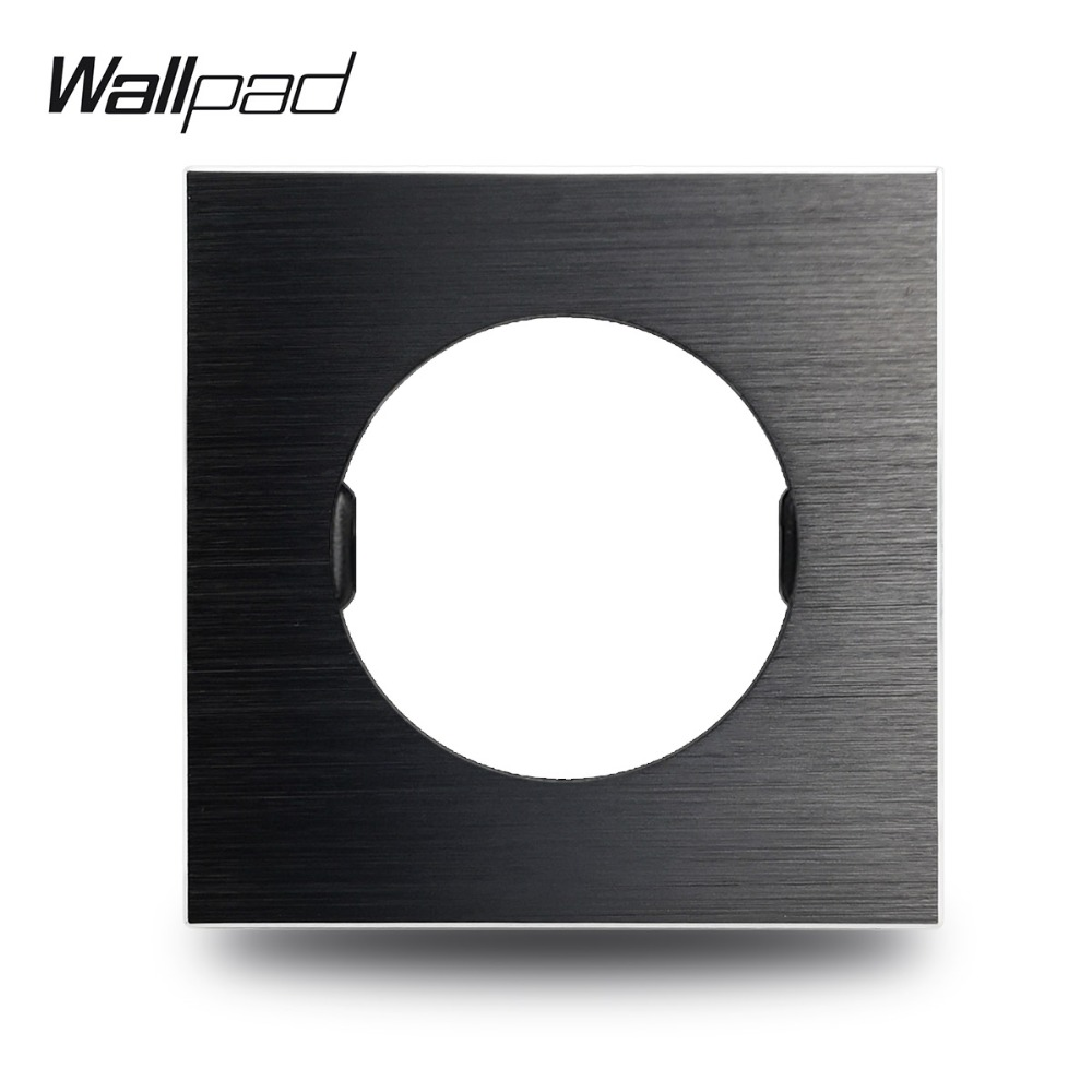 Wallpad L6 DIY Black UK EU Universal Brushed Aluminum Wall Switch Socket Metal Plate Free Combination, 86*86mm