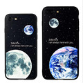Estrela lua terra pintado caes capa para iphone 7 case iphone 7 plus case protetora 7 silicone preto tampa traseira para iphon case