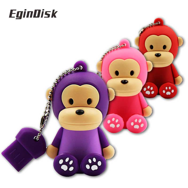 Cartoon Monkey Usb Flash Drive 4g 8g 16g 32gb 64gb Pen Drive Cute Animal Pen Drive Usb Stick Popular Gift External Storage