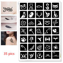 35 pics Henna Party Tattoo Stencils DIY Jagua Drawing Templates Airbrush Mehndi Body Art Small Animals Tatoo Stencil C9 pics
