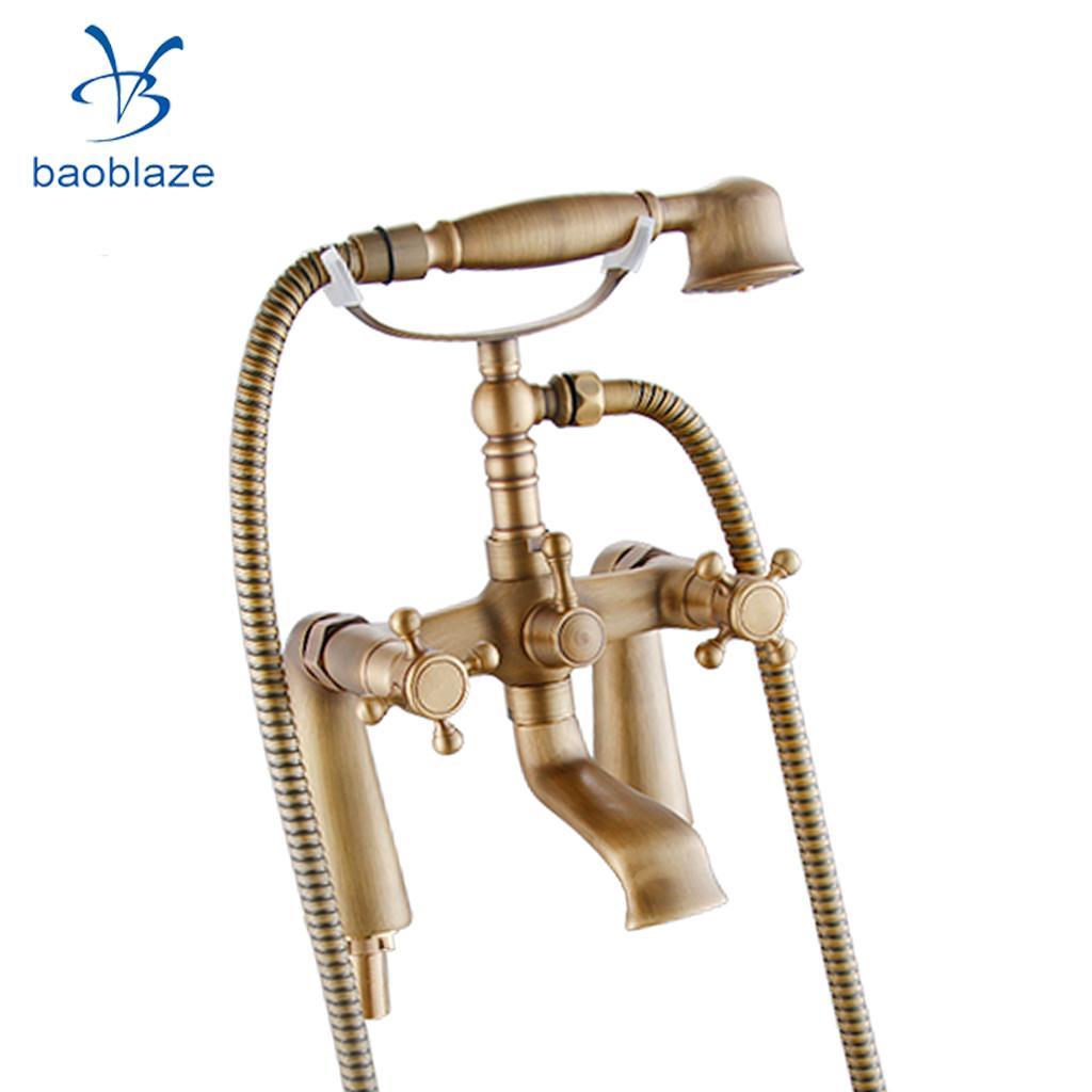 Antique Brass Cross Handle Bath Filler Mixer Taps Bathtub Shower Faucet Kit