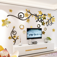 Romantic gold flower vine 3d self adhesive acrylic wall sticker Living room sofa TV background wallpaper Bedroom wall decoration
