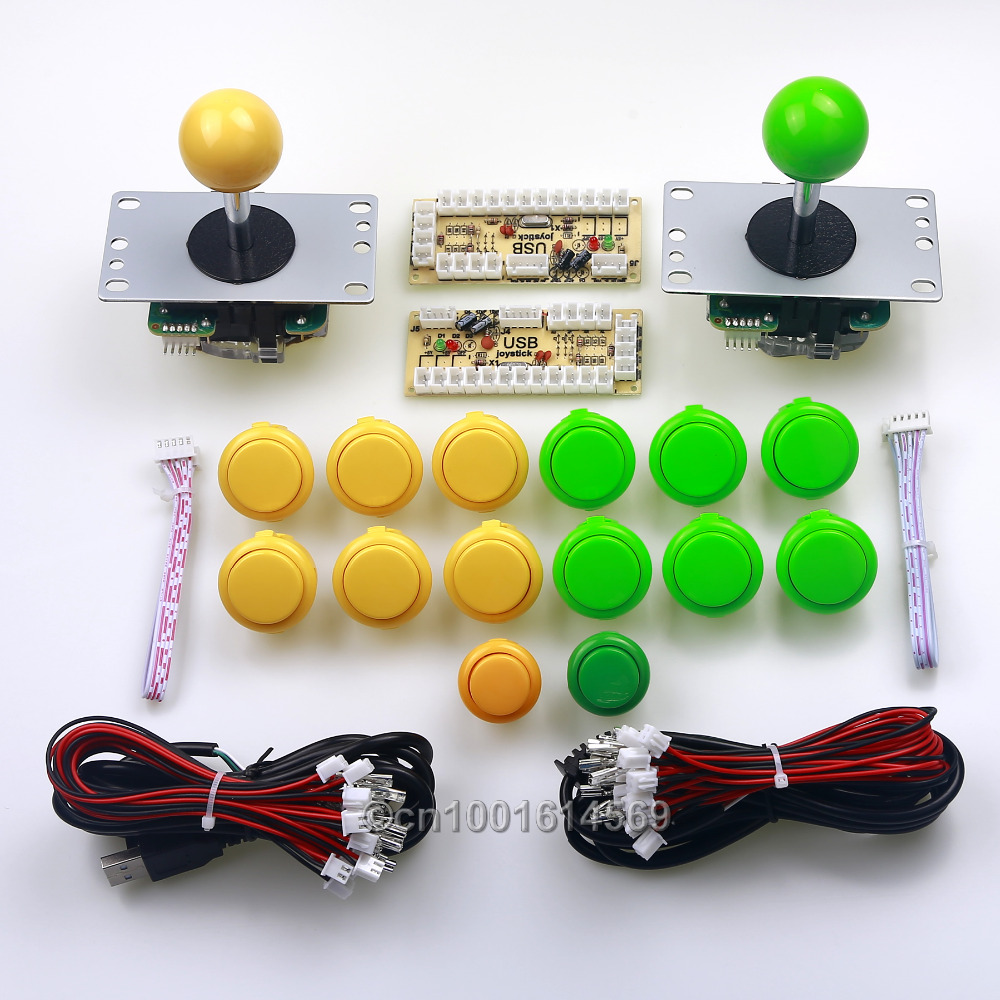 Arcade Game DIY 12 x SANWA Buttons + 2 x China Reyann Push Buttons Wire Harness + 2 x Sanwa Joystick + PC Encoder To Retropie 3B ...