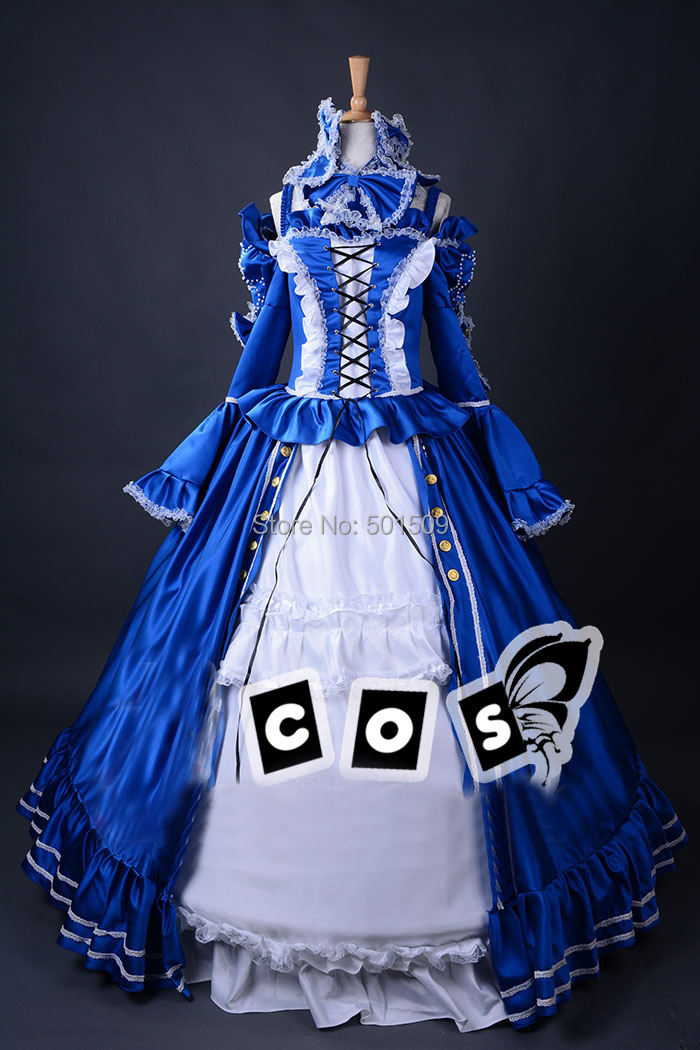 royal blue lace cartoon cosplay medieval dress renaissance lace gown queen costume victorian