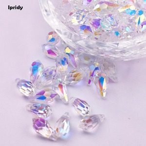84Pcs/lot Drop Plating Beads 6X12mm Teardrop Beads Crystal Glass Diy Beaded Horizontal Hole Fit Jewelry Necklace DIY Making