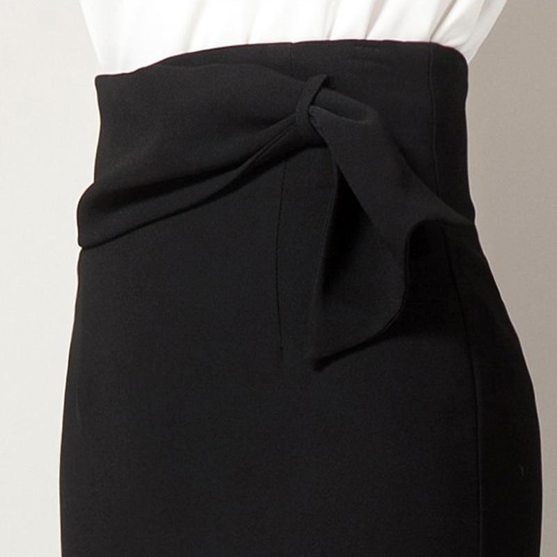 Gratis Y Otoño Cintura Las Primavera Lápiz S De 2018 Elegante Nuevo Negro Envío Damas Formal Arco Mujeres Con Faldas Alta 2xl zdqvzw