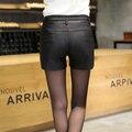 Women Shorts Feminino 2017 All Match Network Pu Leather Women Shorts Wild Ladies Fashion Slim Short De Cintura Alta Belt
