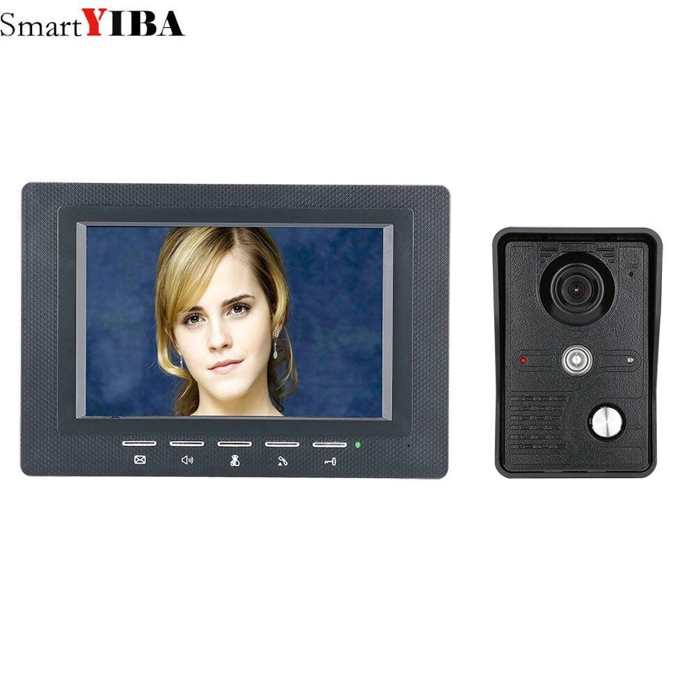 SmartYIBA 7 Inch Video Door Phone Doorbell Intercom Kit 1-camera 1-monitor Night Vision With IR-CUT CMOS 700TV Lines
