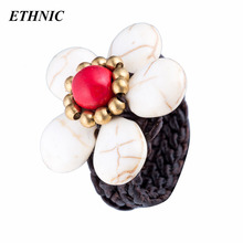 Natural Stone Woven Ring for Women Handmade Rope Band Party Wedding Engagement Female Rings