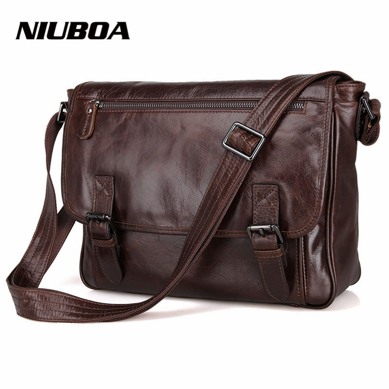 ФОТО NIUBOA Fashion Genuine Leather Men Shoulder Bags Briefcase Natural Cowhide Messenger Bag Business Travel Luxury Convenience Bags