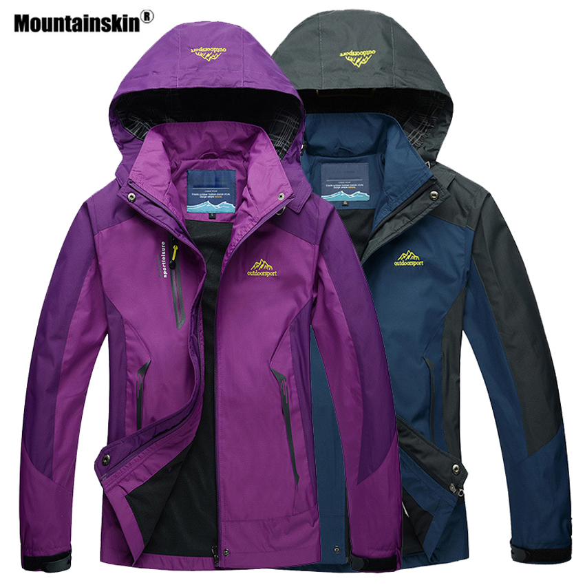 Mountainskin Men Women Spring Autumn Waterprooof Hiking Jackets Outdoor Camping Trekking Climbing Windbreaker Male Coats VA308