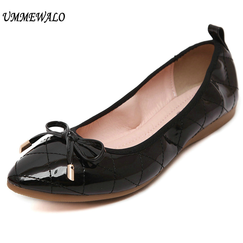 UMMEWALO Soft Paten Leather Flat Shoes Women Casual Pointed Toe Ballet Shoes Ladies Bow Designer Rubber