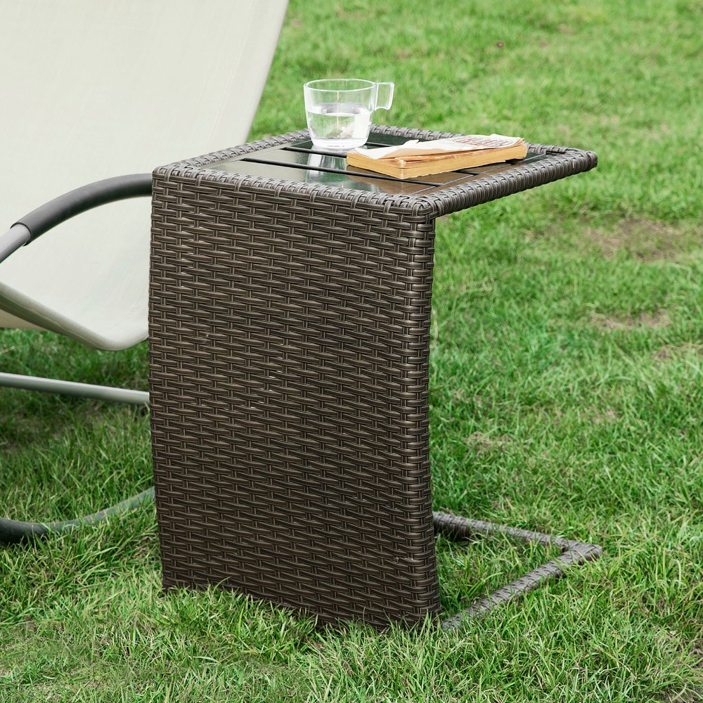 SoBuy OGT13-SCH, Outdoor Metal & Rattan Side Table End Table Sofa Table Tea Coffee Table hollowed acrylic book magazine coffee tea table lucite plexiglass engraved side end sofa corner tables one lux