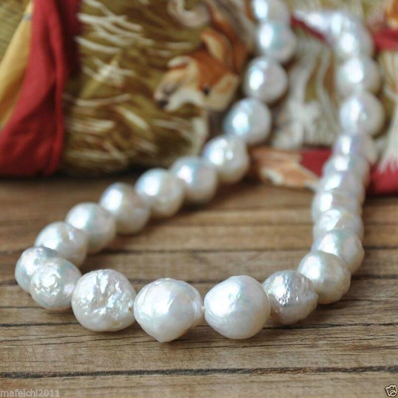 Classique 12-13mm énorme mer du sud collier de perles blanches fermoir en argent 18 pouces
