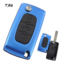 TYUI New Aluminum Blue CE0523 Blade Groove 3 Buttons Car Key For Peugeot 107 207 307 407 Remote Flip Key Shell Replacements