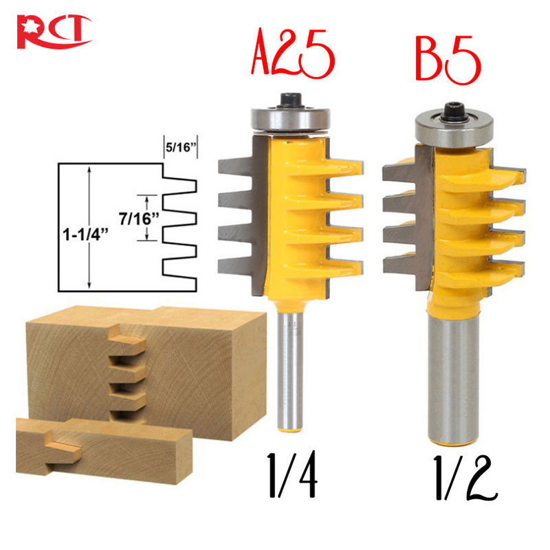 Rail Reversible Finger Joint Glue Router Bit Cone Tenon Woodwork Cutter Power Tools-1/2