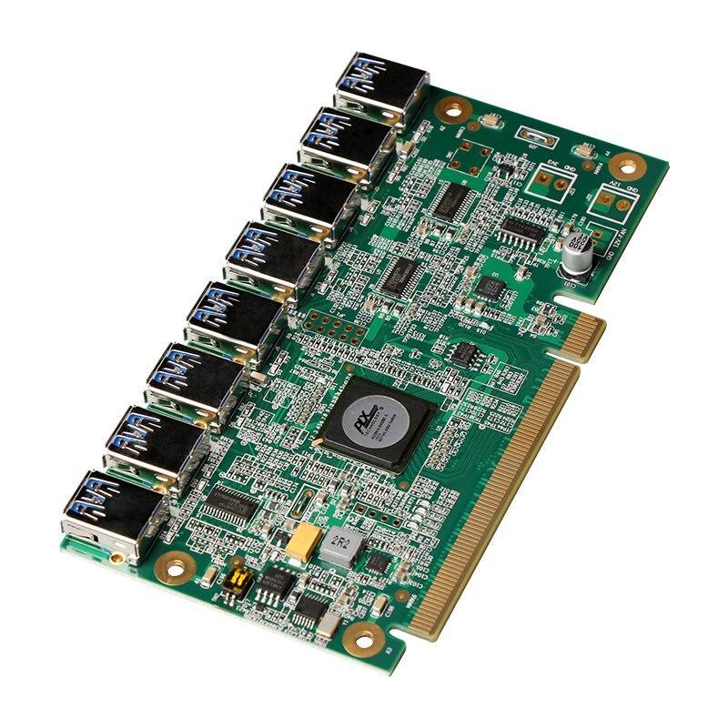 1 à 8 PCIe Mineur Machine Carte Graphique Rallonge PCI-E 16X tour 8 Port USB3.0 PCIE Cartes D'extension Riser Carte BTC LTC ETH