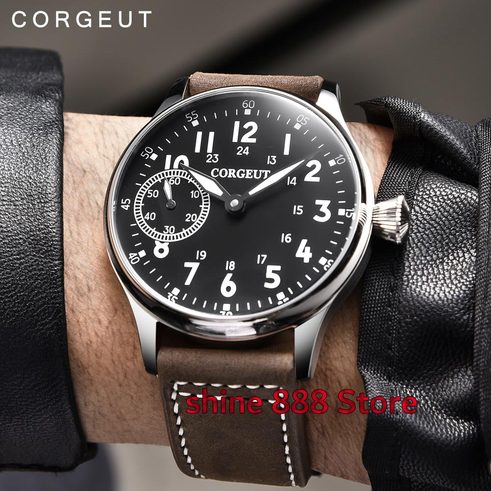 44mm Corgeut sterile black dial luminous marks Asian 6497 hand winding movement Mechanical mens watch
