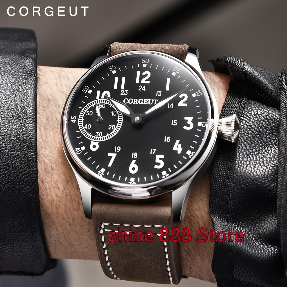 Saatler'ten Mekanik Saatler'de 44mm Corgeut steril siyah kadran aydınlık işaretleri Asya 6497 el sarma hareketi Mekanik mens watch'da  Grup 1