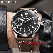 2f06b367023 44mm Corgeut estéril preto dial luminous marcas Asiáticas 6497 mão winding  movimento Mecânico mens watch(