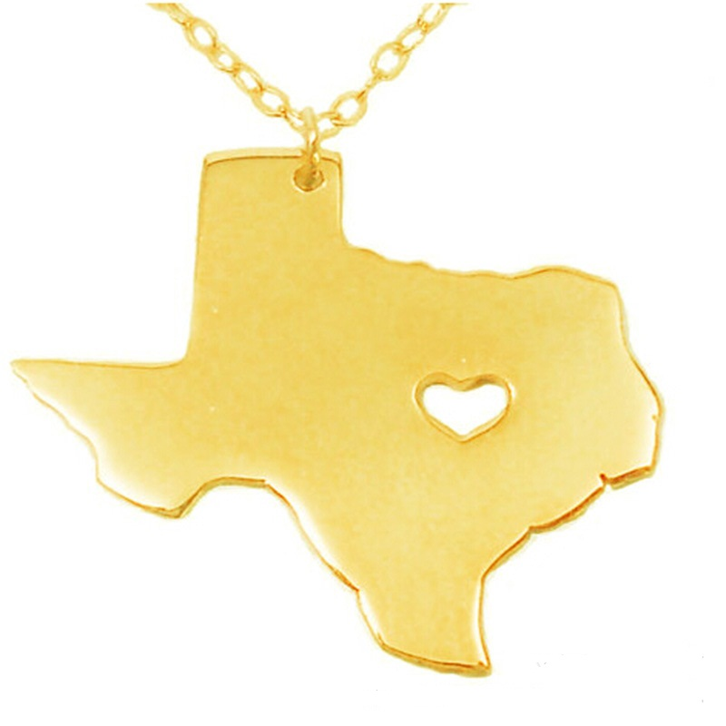 Hot 3colors American state Texas necklace 316L stainless steel heart map pendant necklace jewelry