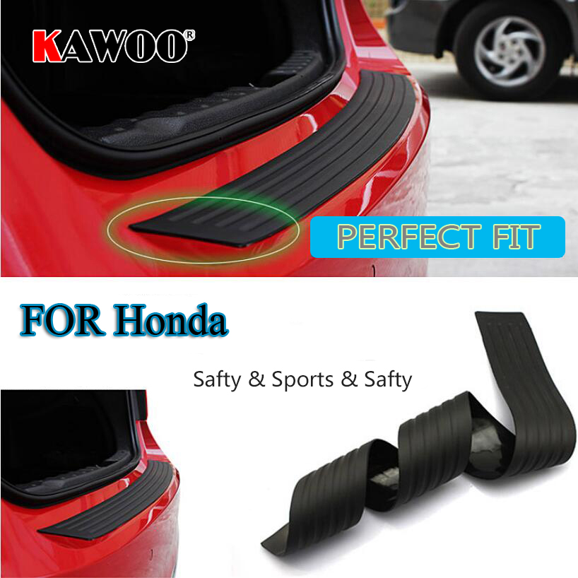 KAWOO For Honda CIVIC Accord CRV Fit Jazz INSIGHT CR-V HR-V Rubber Rear Guard Bumper Protect Trim Cover Sill Mat Pad Car Styling