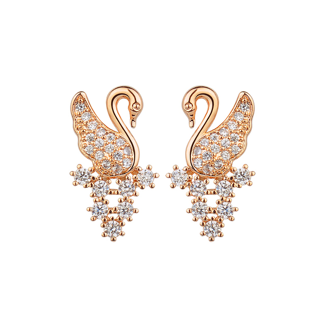 2017 New Style Swan Earring Stud Luxury Aaa Cubic Zircon 2 Colors Duck Earrings For