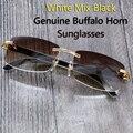 2017 Retro Buffalo Horn Glasses Men Carter Sunglasses Men Designer Sunglasses Rimless Sun Glasses Driver for Sea Fishing Outdoor