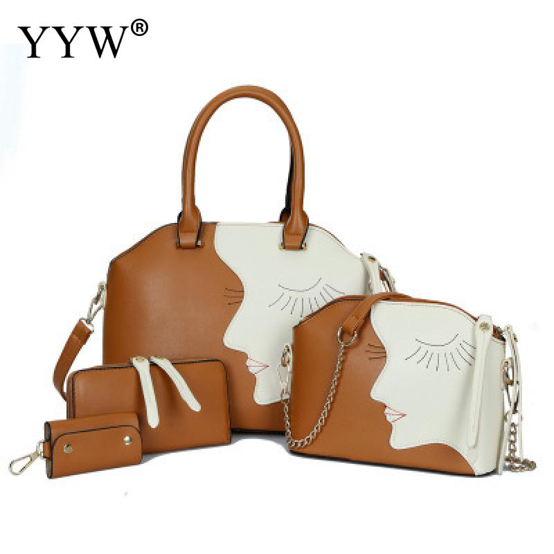4 PCS/Set PU Leather Handbags Women Bag Set Cartton Patchwork Tote Bag Lady's Shoulder Crossbody Bags Famous Brands Clutch Bag