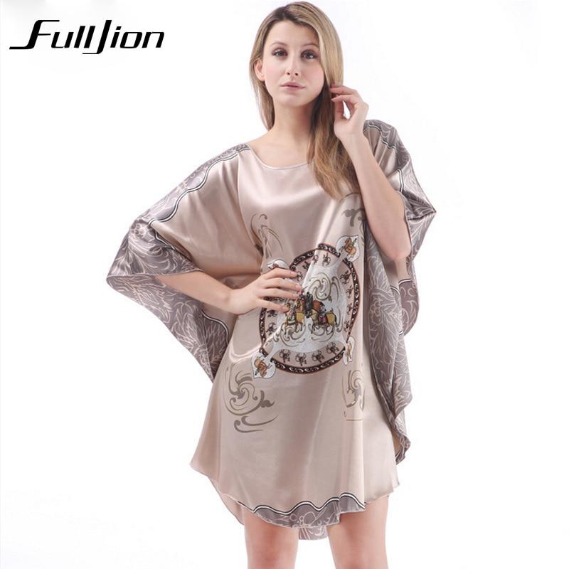 Summer Sexy Silk   Nightgown     Sleepshirt   Women Bat Short-sleeves Plus Size Sleepwear Lounge Casual Satin Silk Nightwear night Dress
