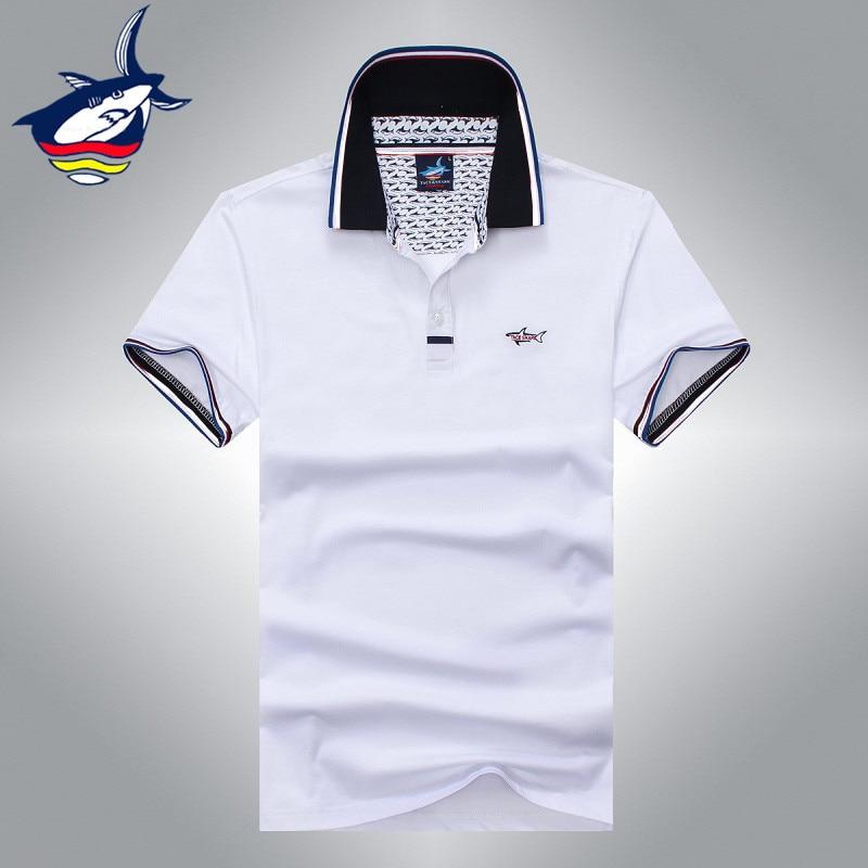 Aliexpress.com  Compre Famoso homem tubarão tace camisa camisa camisa  masculina top quality pure color slim fit algodão camiseta homem fresco  confortável ... 3f8eae4fdee09