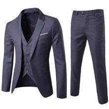 Men Stylish Suit Blazers Sets Formal Fitted well Tailored Dress Groom Wedding Tuxedo Jacket+Vest+Pant Three Piece Sets 0021
