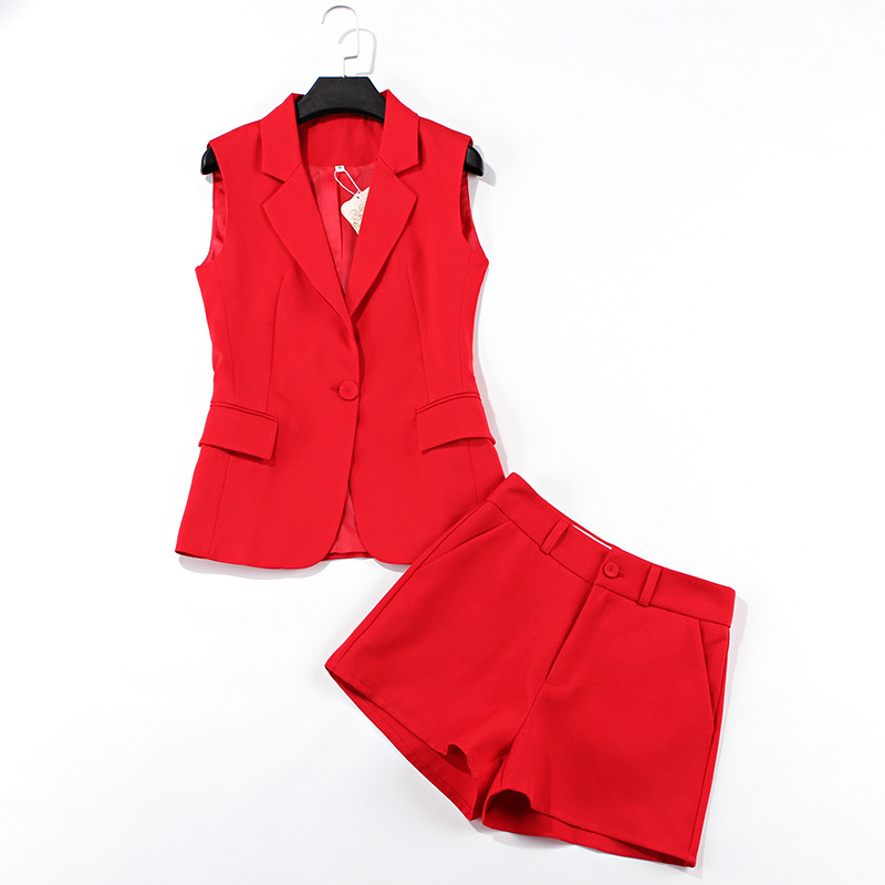 Suit Vest Suit Female Professional Shorts Two-piece Fashion Casual Red Sleeveless Jacket 2019 Summer New Women's Clothing
