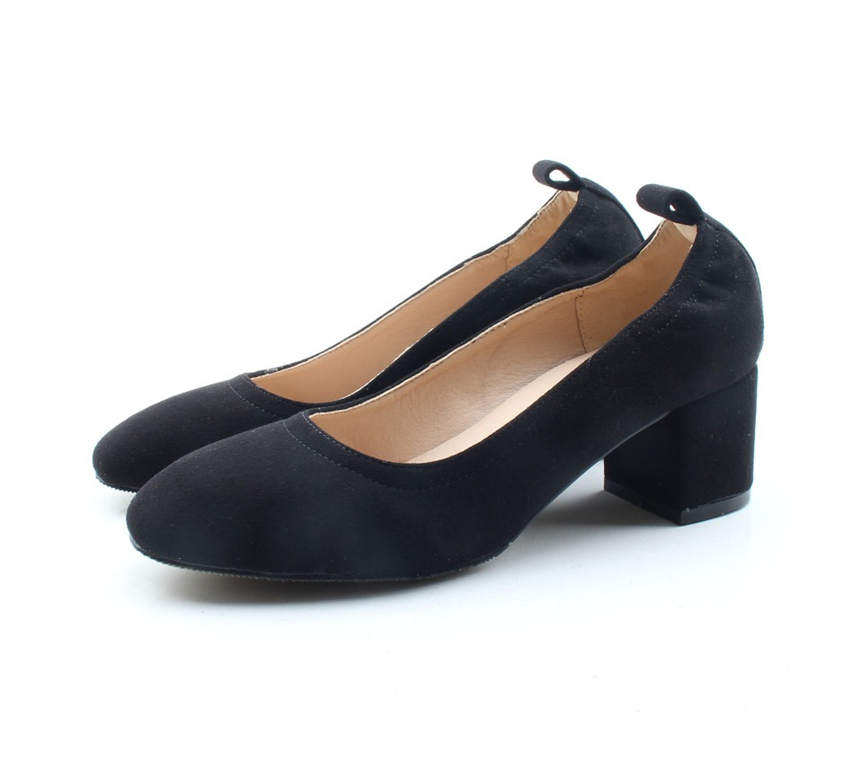Shoes Women Genuine Leather Fashion Office and Career Rounded Toe 2-inch Block Heel Fashion Office Lady Pumps Size 34-41, K-307 73