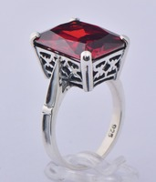 New products listed 925 sterling silver series Austrian luxury wedding pomegranate ruby ring, Christmas/birthday gift