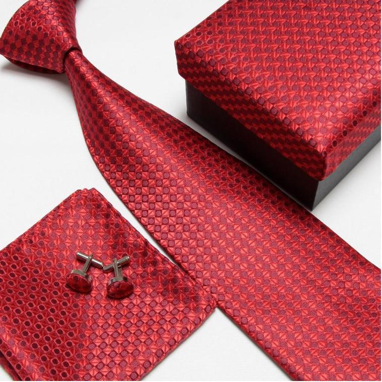Мужская мода высокого качества набор галстуков галстуки запонки шелковые галстуки Запонки Карманный платок - Цвет: 3