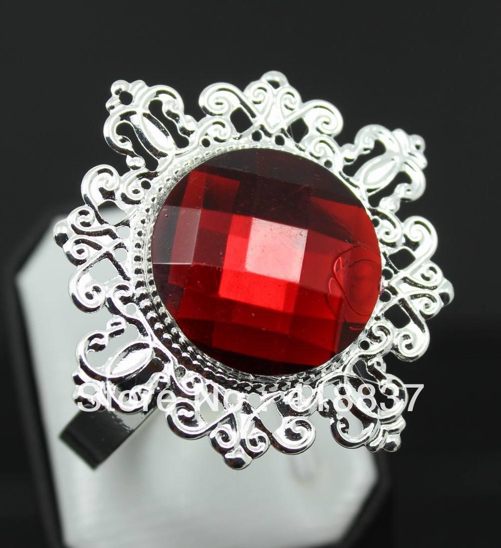 Lot Red Diamond Napkin Ring Serviette Holder Wedding  Party Banquet Table Dinner