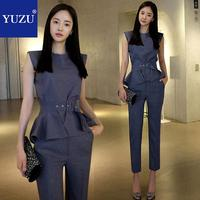 women pants suits two piece set Summer Elegant Office Business Work Wear Ruffles Stripe Sleeveless With Belt Tops And Long Pants