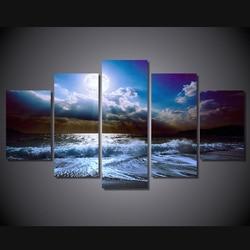 5 sztuk światło księżyca noc natura obraz na płótnie obraz na zdjęcia ścienny do salonu Unframed oleju Cuadros Decoracion modułowy obraz