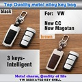 car cover leather+Zinc alloy Metal keys bag case key chain Wallet Intelligent 1pcs for VW New CC 2016 2017/New Magotan 2016 2017