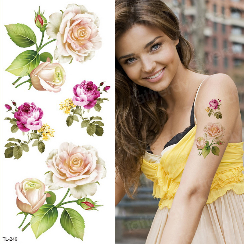 Tatoo Waterproof Women Tattoo & Body Art Transfer Tattoo Flower Rose Stickers Body Tattoo Watercolor Sexy Girl Summer Fashion