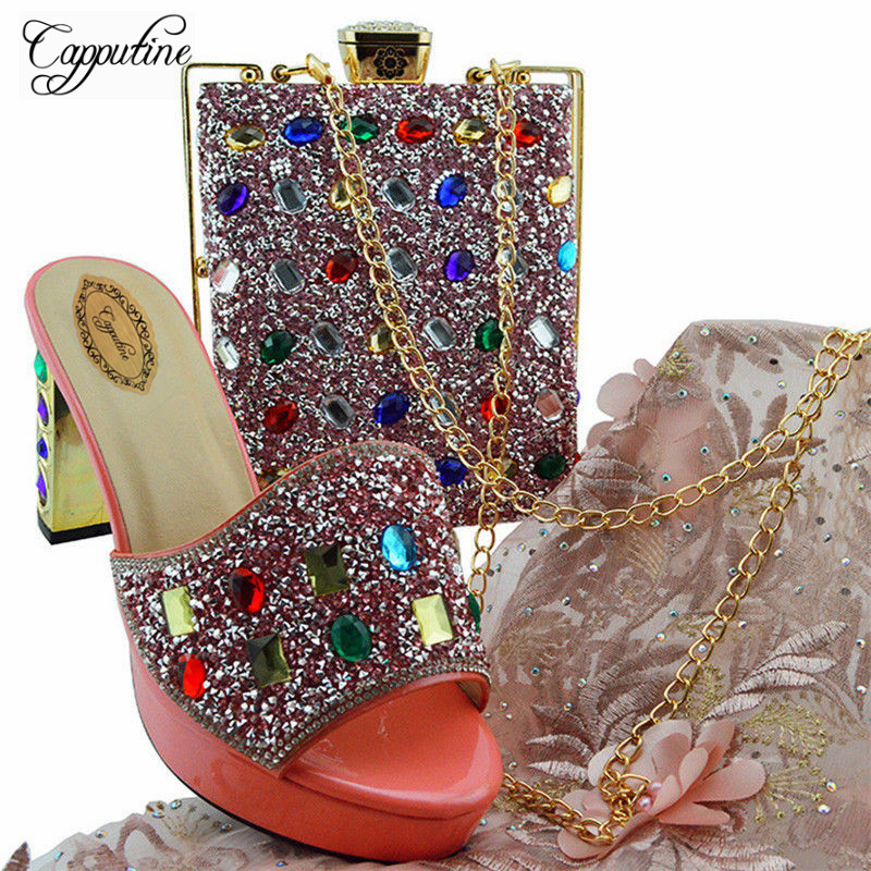 Capputine Summer Italian Shoes With Matching Bags Nigerian Women Slipper Pumps Shoes And Bag Set For Party 5Colors Stock YD002 capputine african style crystal shoes and matching bag set for party fashion women pumps slipper shoes and bags set size 37 43