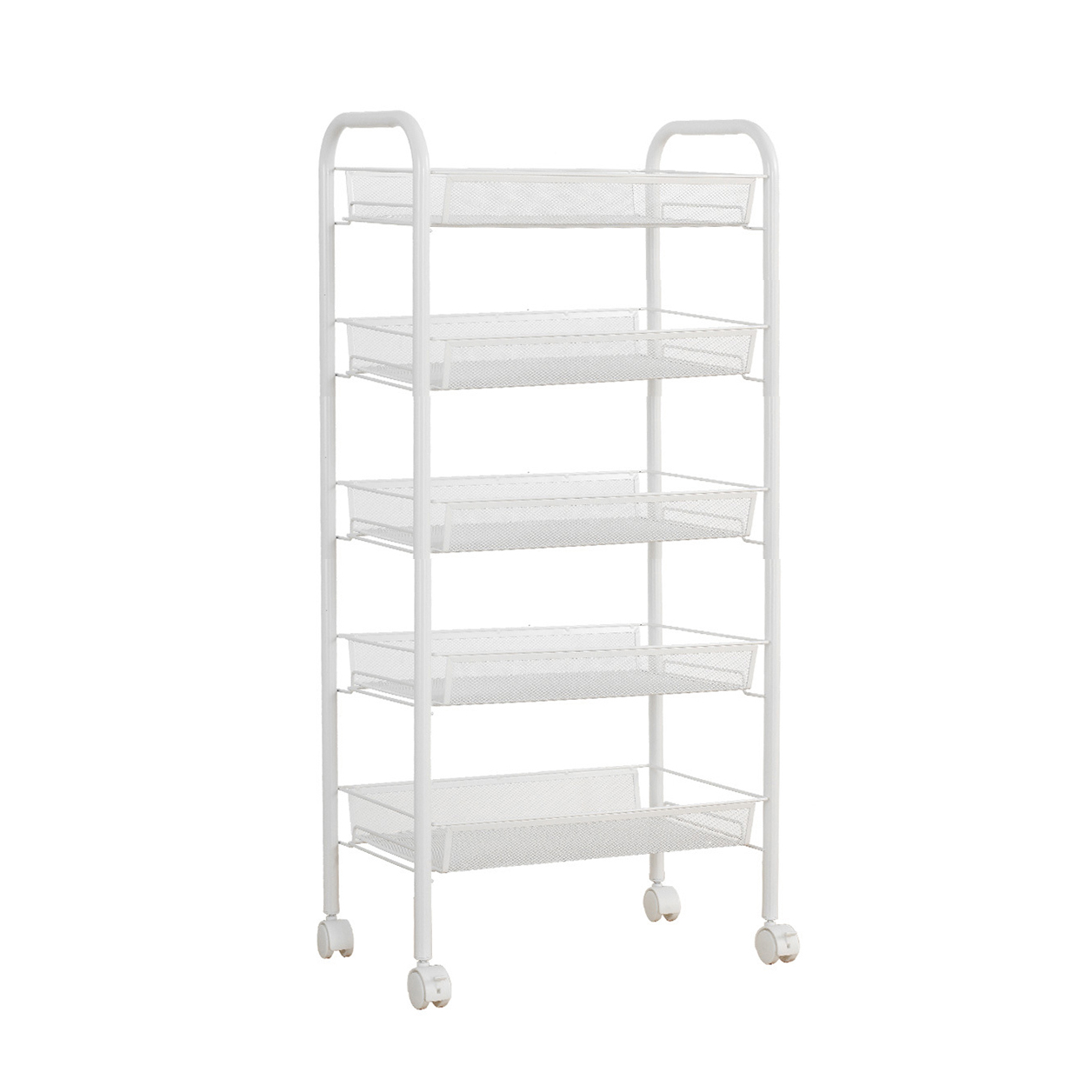SDFC White Metal Mesh Rolling Cart Storage Rack Shelves with Wheels ...