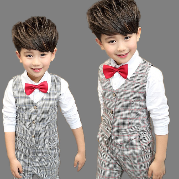 Good Quality 2 To 7 Years Boys Plaid Suits Clothing Set For Boy Shirt Vest Pants Suit 3 Pieces Children Kids Clothes Formal Suit