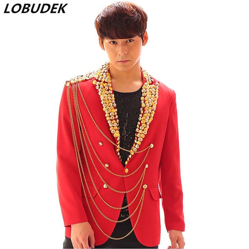 Boutons chaîne hommes Costume vestes mode marée mince rouge manteau Punk Rock chanteur tambour danseur scène Costume discothèque DJ hôte vêtements