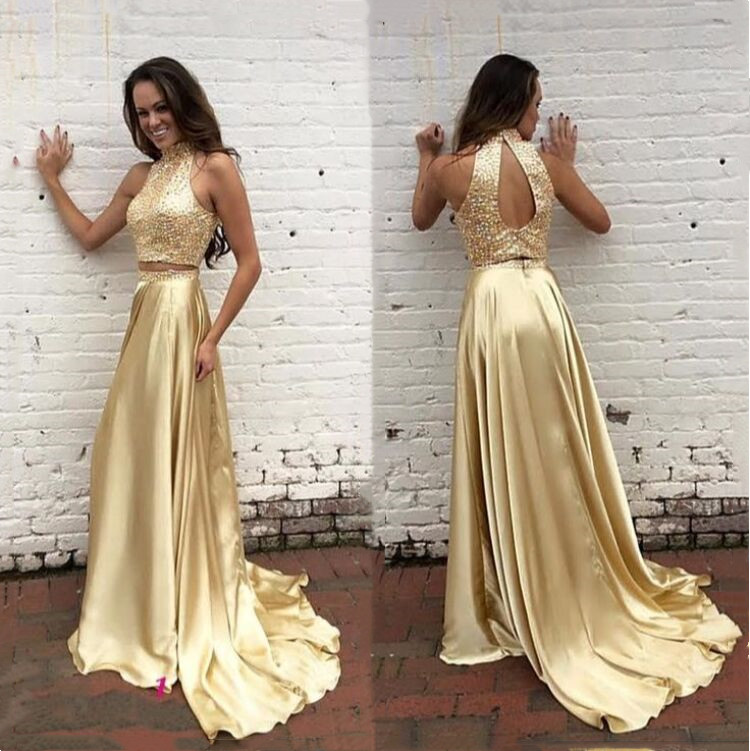 Gold Beaded Two Piece   Prom     Dress   High Neck With Keyhole Back Formal Women Robe De Soiree Longue Party Gowns