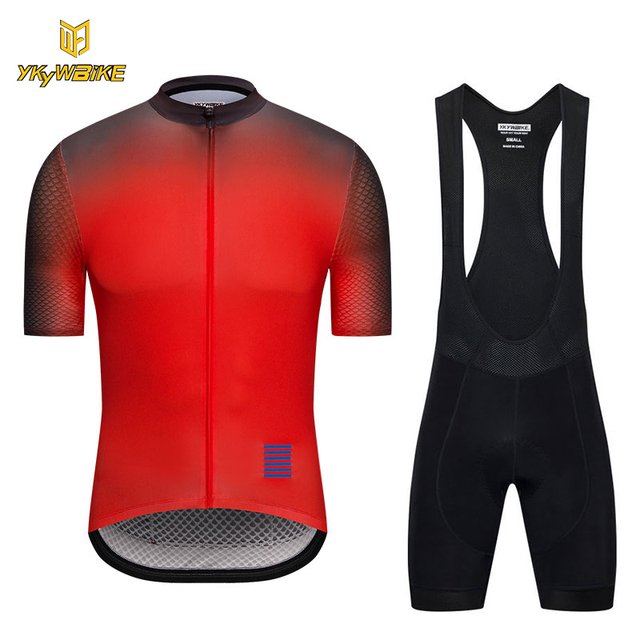 YKYWBIKE cycling clothing 2018 pro team summer men bicycle jersey Gradient color  short sleeve bike clothes mtb shirt bib shorts 47386f3a2